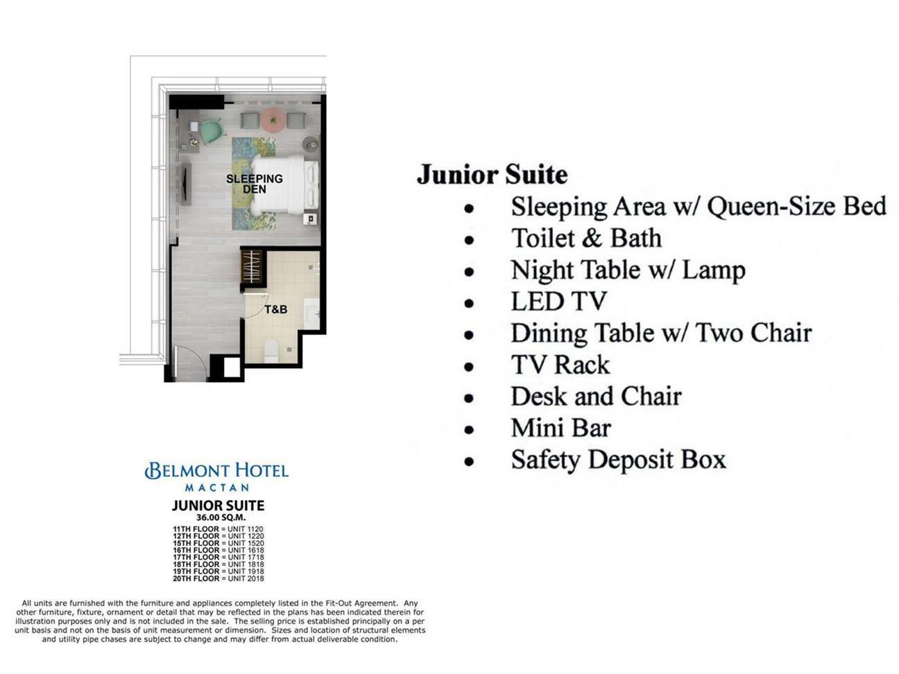 Mactan Belmont Luxury Hotel Unit Layout